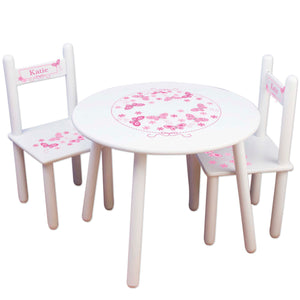 pink butterfly childs table chair set