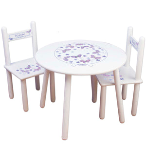 lavender butterfly childs table chair set