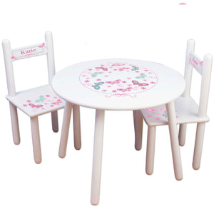 girls personalized pink aqua table chair set