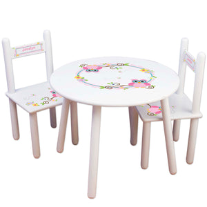 personalized pink calico owl table chair set for kids