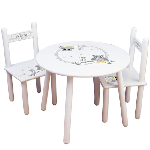 Personalized Table and Chairs with Grey owl