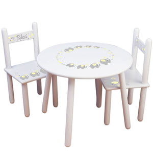 Personalized Table and Chairs with Grey Elephant design