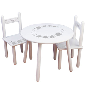 child gray elephant table chair set for playroom