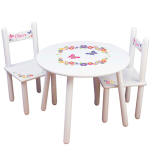 girls hot pink purple butterfly flower table chair set