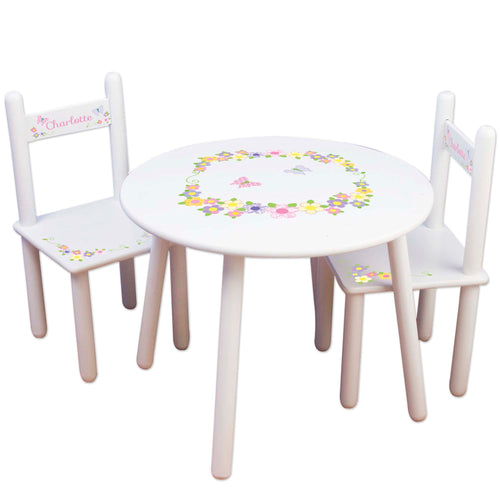 girls pastel butterfly flower table chair set