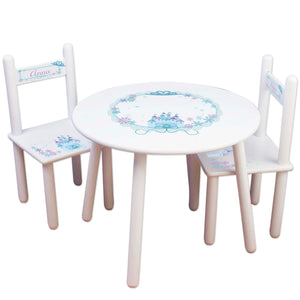 Girl's White Table Chair Set - Winter Castle