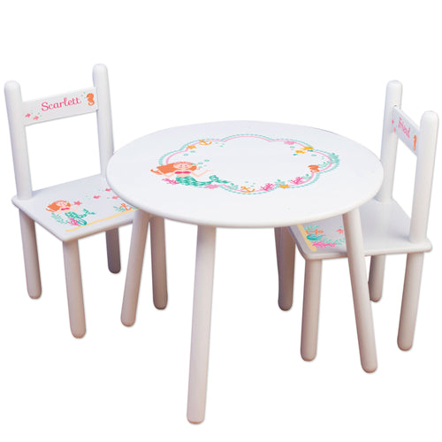 Girl's White Table Chair Set - Mermaid