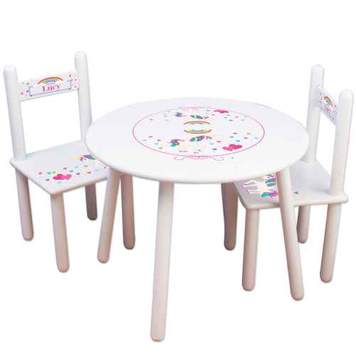 Personalized unicorn Table and Chairs