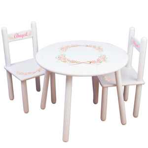 Girl's White Table Chair Set - Blush Cross Garland