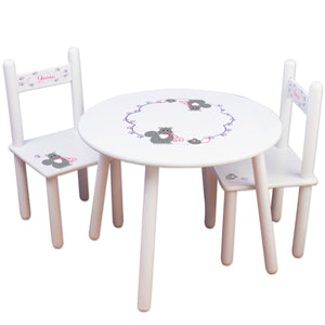 personalized kitty cat table chair set