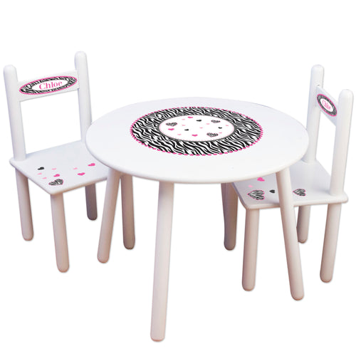 Girl's White Table Chair Set - Groovy Zebra