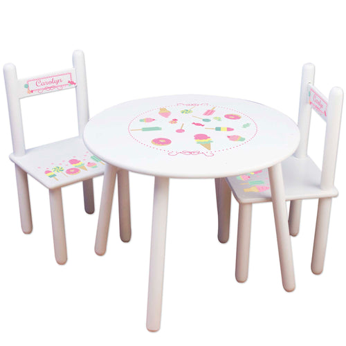personalized sweet treat ice cream shoppe party table chair set