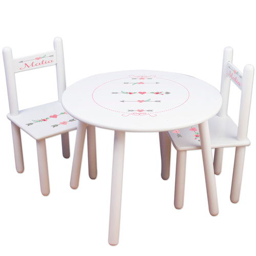 Personalized Table and Chairs with Girl Tribal Arrows design