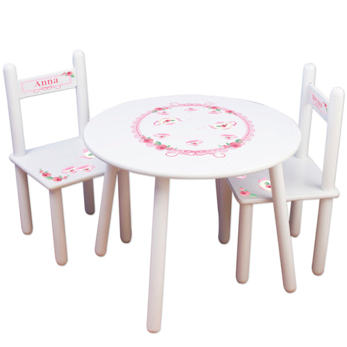 personalized tea party table chair set