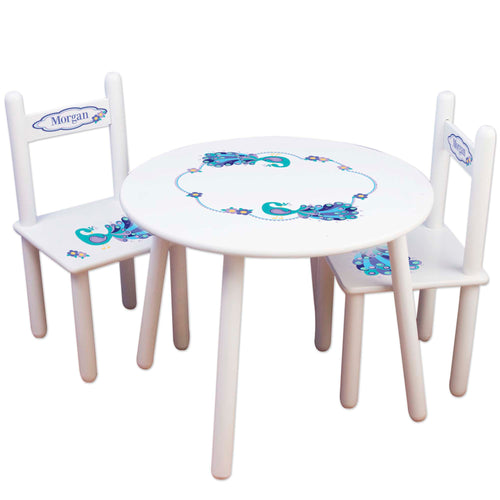 Children's White Table Chair Set - Peacock