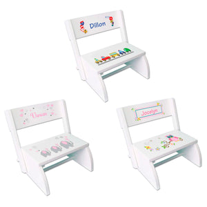 Personalized White Folding Stool- main