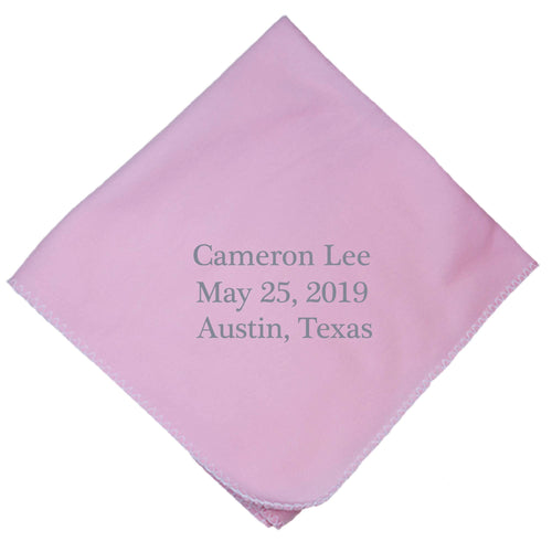 Personalized Pink Baby Blanket Multi Line