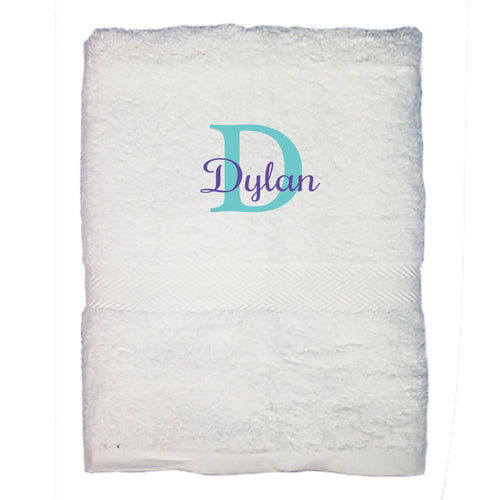 Personalized Bath Towel Name Initial Color