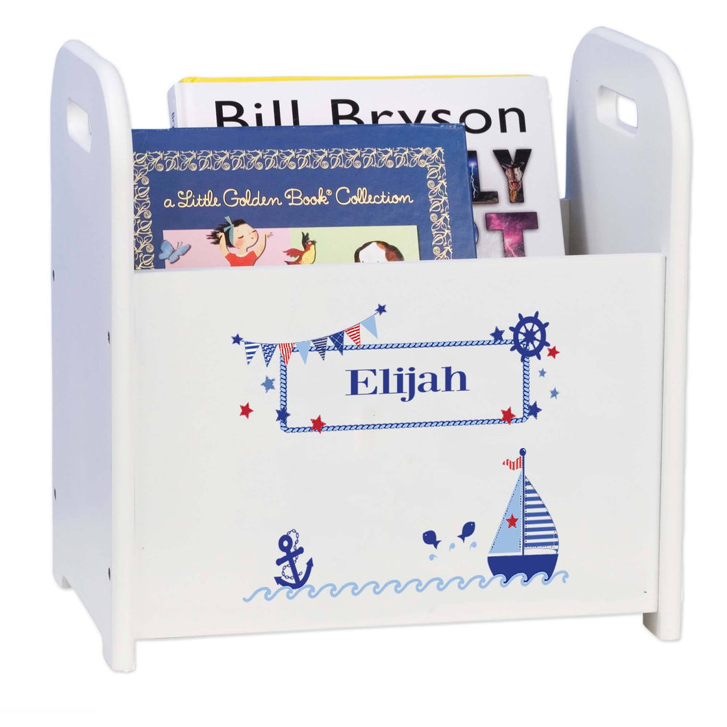 Personalized Sailboat Book Holder Magazine Rack