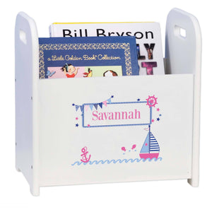 Personalized Pink Sailboat White Book Caddy And Magazine Rack