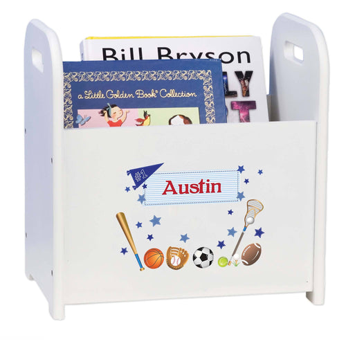 Personalized Book ,storage Magazine Rack Sports Theme