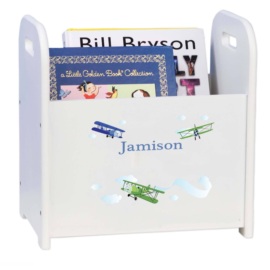 Personalized Child's Book ,storage Magazine Rack Airplane