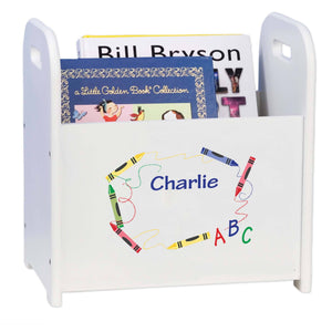 Personalized Crayon White Book Caddy And Rack