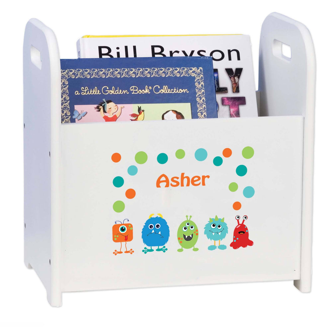Personalized Monster Mash White Book Caddy And Rack