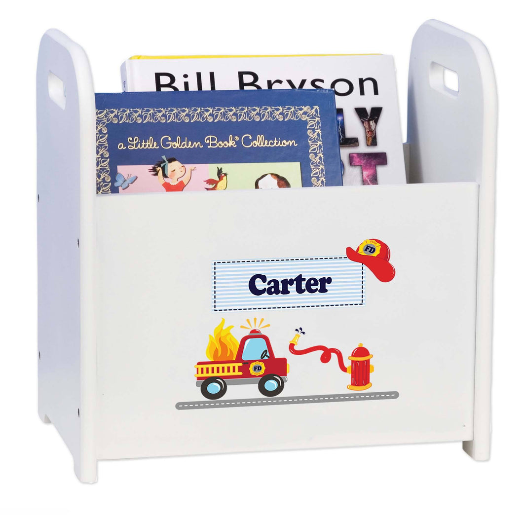 Personalized Child's Firetruck Book ,storage Magazine Rack