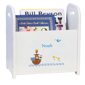 Personalized Noahs Ark White Book Caddy Magazine Rack