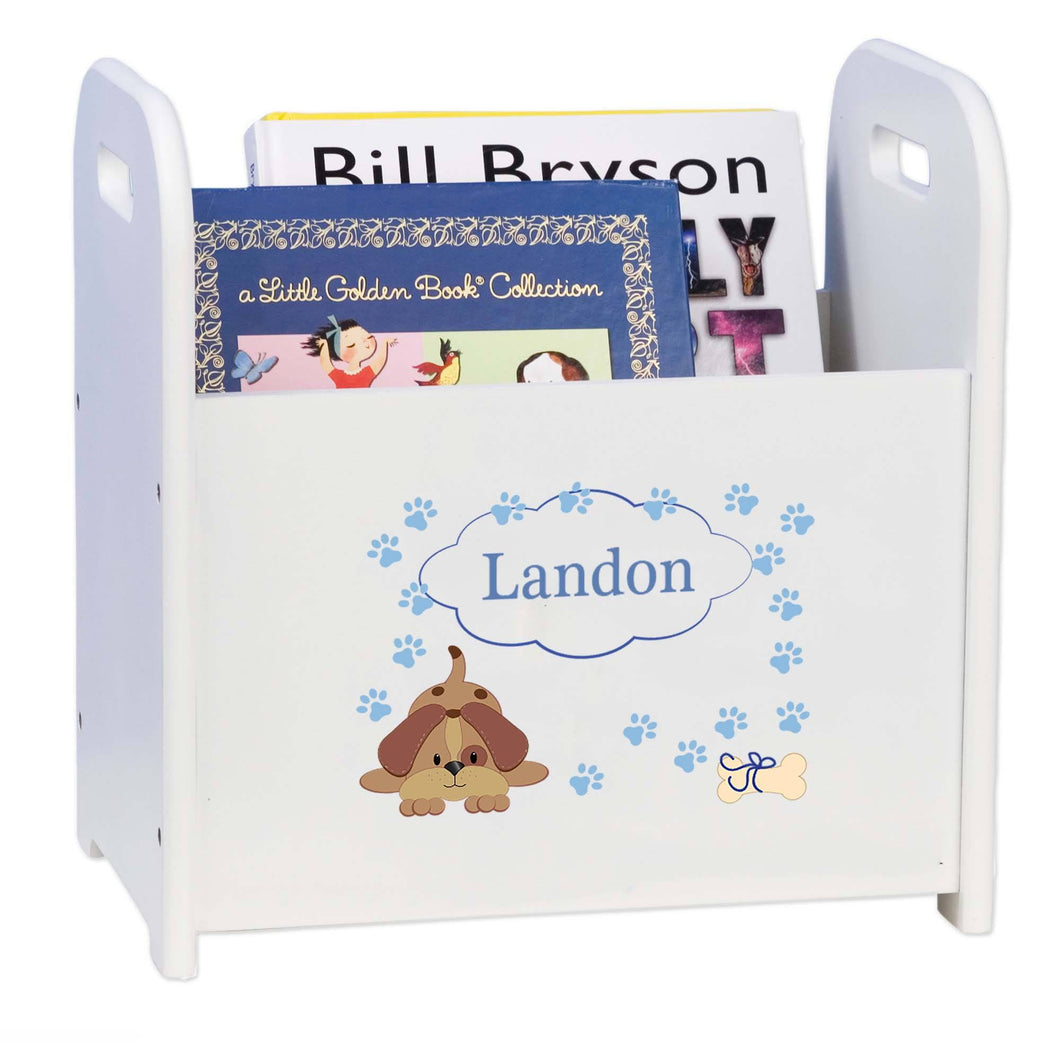 Personalized Blue Puppy White Book Caddy And Rack