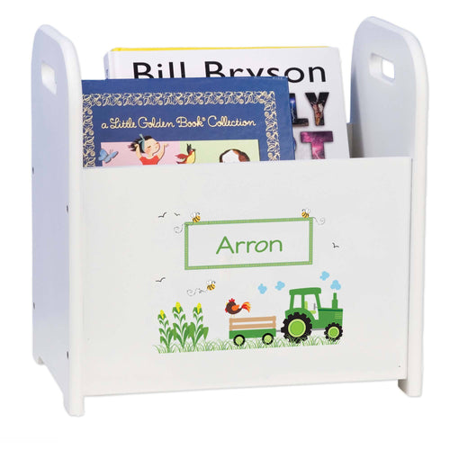 Personalized Child's Book ,storage Magazine Rack Boy's Tractor