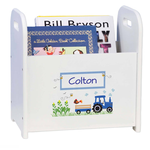 Personalized Book Caddy And ,storage With Blue Tractor Design