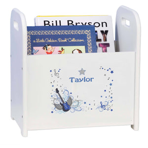 Personalized Blue Rock Star White Book Caddy And Rack