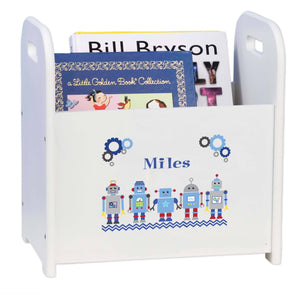 Personalized Robot White Book Caddy And Rack