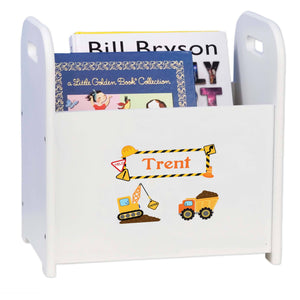 Personalized Construction White Book Caddy And Rack