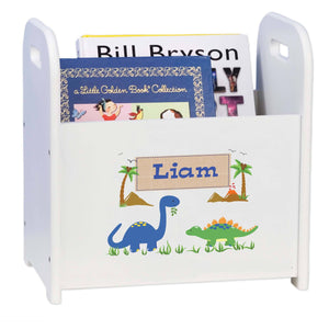 Personalized Dinosaurs White Book Caddy And Rack