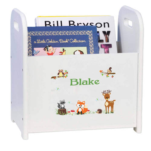 Personalized Child's Book Caddy Magazine Rack Woodland Animals