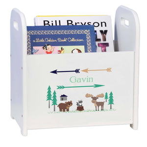 Personalized North Woodland Critters White Book Caddy Magazine Rack