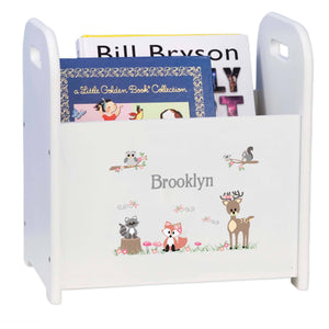 Personalized Gray Woodland Critters Book Caddy