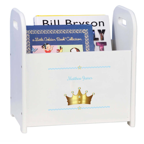 Personalized Prince Crown Blue White Book Caddy And Rack