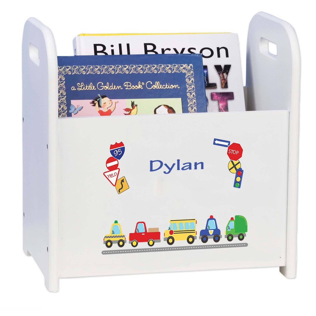 Personalized Cars And Trucks Book Caddy And Rack