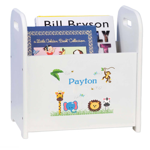Personalized Child's Book ,storage Magazine Rack Jungle Animals