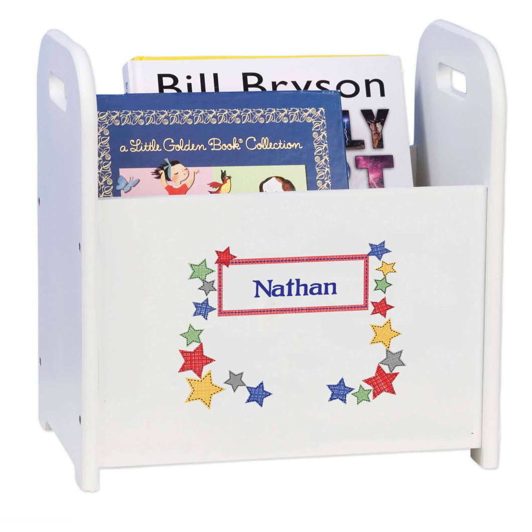 Personalized Stitched Stars White Book Caddy And Rack