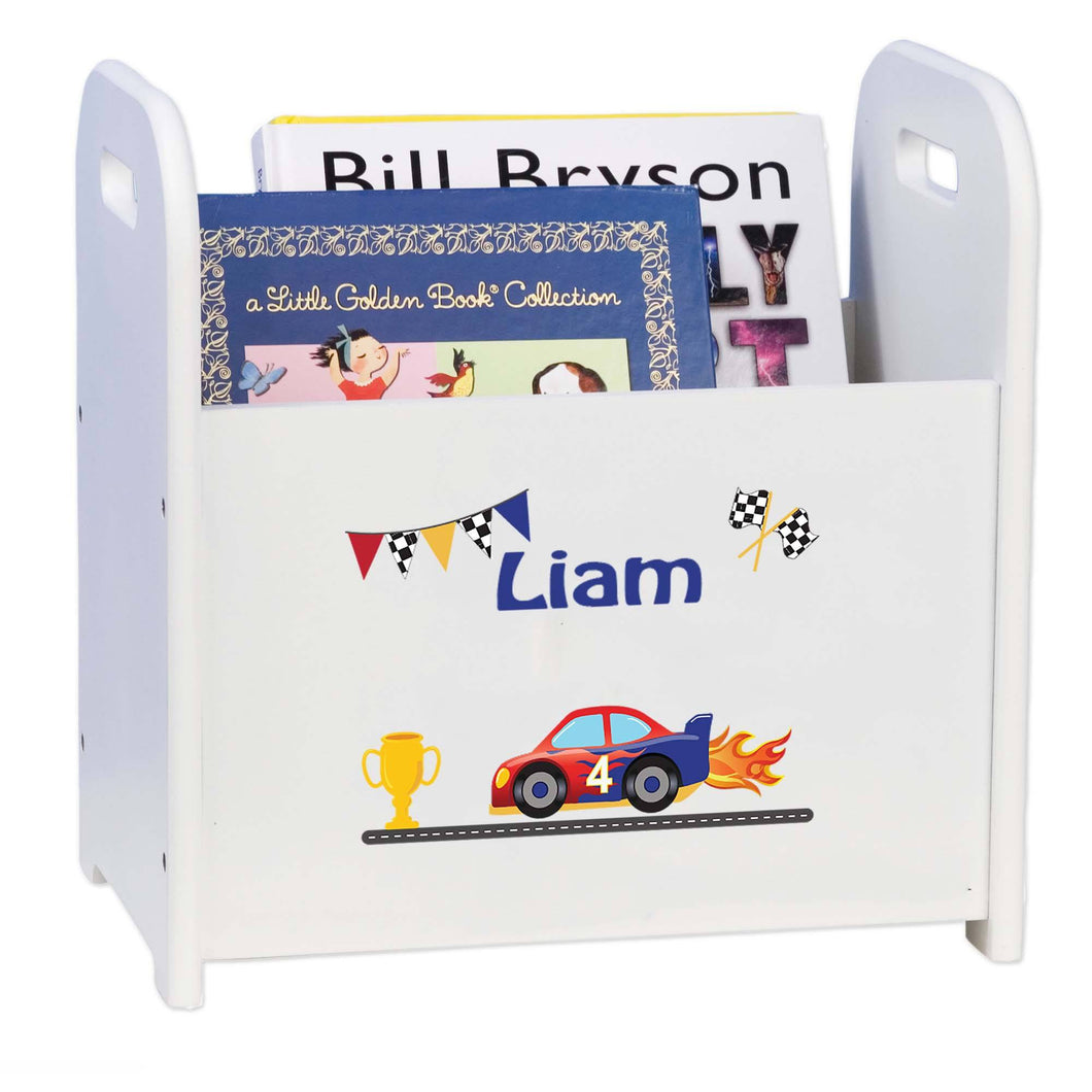 Personalized Race Cars White Book Caddy And Rack