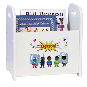 Personalized Book Caddy And ,storage With African American Super Hero Design