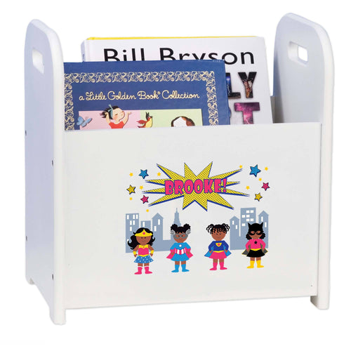 Personalized White Book Caddy Magazine Rack Girls Superhero African American