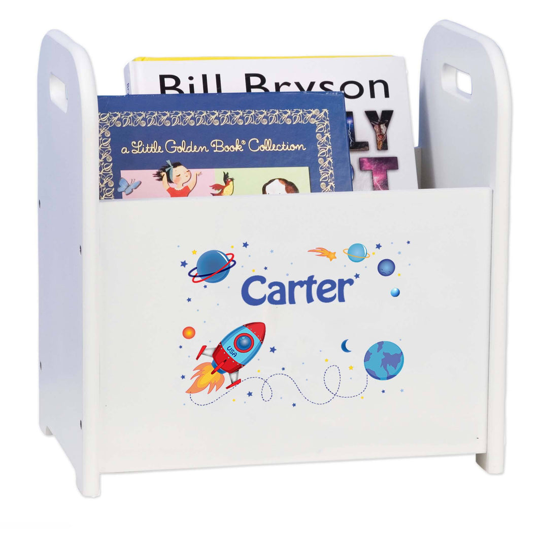 Personalized Rocket White Book Caddy And Rack