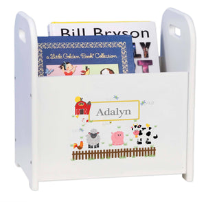 Personalized Barnyard Friends Pastel White Book Caddy And Rack
