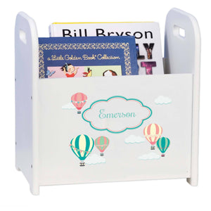 Personalized Hot Air Balloon White Book Caddy And Rack